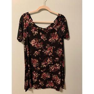 Off the shoulder black floral midi dress